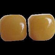 Vintage NOS Bakelite Yellow Square Pierced Earrings