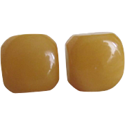 Vintage NOS Bakelite Yellow Square Pierced Earrings