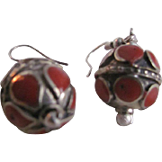 Vintage Hand Crafted Red Coral Inlaid Boho Chic Style Pierced Dangling Earrings
