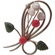 Vintage Carved White & Pink Coral tulips with Jade Leaves Brooch
