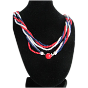 Mid Century  Flapper Patriotic 3 Strand Beaded Necklace  2 for 1 Offer