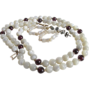 Vintage 12kt GF Hand Carved MOP with Genuine Garnet Beads Necklace