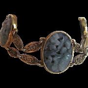 Art Deco 12K GF Jadeite Carved & Pierced Cabochon Cannetille Link Bracelet with Certified Appraisal $685