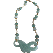 Vintage Carved Nephrite Jade Infinity Fan Pendant and Lozenges Bead Necklace Certified Appraised value $1375