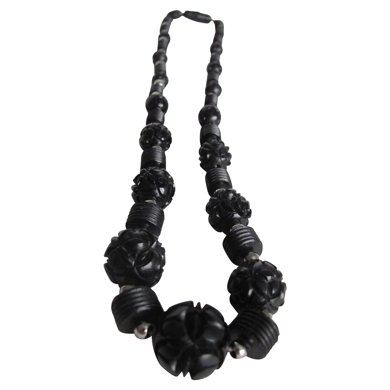Art Deco Carved Black Galalith Graduated Necklace