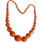 Vintage Orange Graduating Facetted Glass Beads