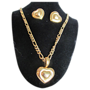 Vintage Very Fine GP Heart Earrings & Pendant with Heavy Chain