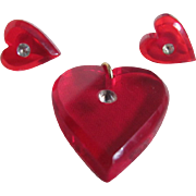 Art Deco Heart Red Prystal Earrings and Pendant with Rhinestones Demi