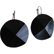 Upcycled Edwardian Carved English Whitby Jet Black SP Dormeuse Pierced Earrings