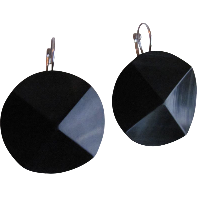 Upcycled Edwardian Carved English Whitby Jet Black SP Dormeuse Pierced Earrings