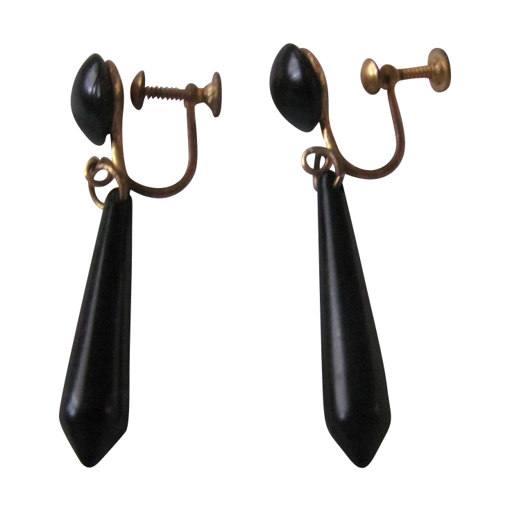 Victorian Mourning Jewelry Whitby Jet Dangling Earrings