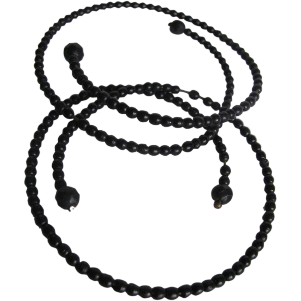 Victorian Mourning Jewelry Whitby Jet Double Wire Bead Bangles