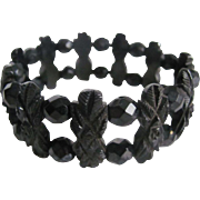 Victorian Mourning Carved Black Genuine Whitby Jet with French Jet Bead Stretch Bracelet