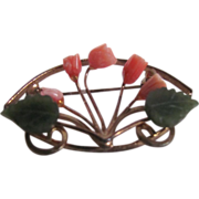 Vintage GP Angel Skin Coral & Jade Rose Framed Bouquet Brooch