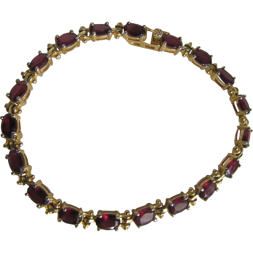 Vintage Genuine Garnet Sterling Silver Vermeil Bracelet with Certified Appraisal