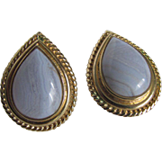 Vintage Blue Chalcedony (Banded)  Pear Cabochon Omega Pierced Earrings