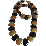 ArT Deco Galalith Amber and Black Link Demi Parure