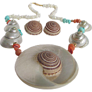 Upcycled Natural Sea Shell & Coral & MOP Necklace & Earrings