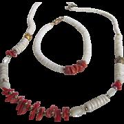 Vintage Red Branch Coral & White Coral Heishi Bead Set of Necklace & Bracelet