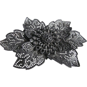 Victorian Gutta Percha Pierced Flower Brooch - Black Mourning Jewelry