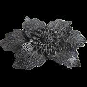 Victorian Gutta Percha Pierced Flower Brooch - Black Mourning Jewelry
