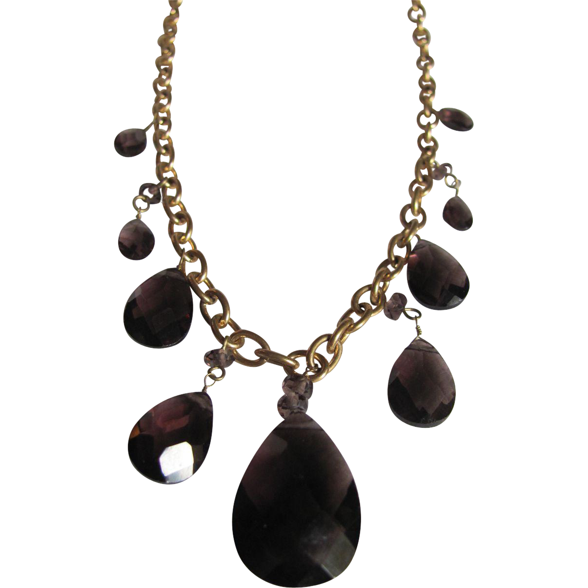 Romanesque Revival Style Signed Ralph Lauren Teardrop TOPAZ Necklace Certified Appraisal $1475