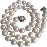 Vintage 14k Akoya Cultured Pearl Graduated Knotted Necklace--Authentic Deltah Pearls  with Gemologist's Certified Appraisal