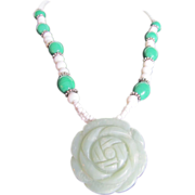 Vintage Carved Jadeite Rose & Glass bead British Estate Necklace