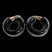 Art Deco Black Galalith Chunky open Hoop Clip Earrings
