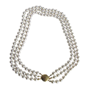 Vintage Triple Strand Hand Knotted Faux Pearl Necklace lovely clasp