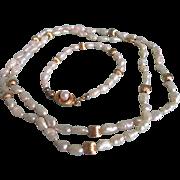 Vintage 14k Freshwater Cultured Pearl Demi Parure with Gemological Appraisal Certificate $700