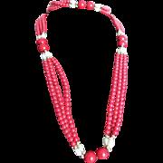 Vintage Enhanced Oxblood Quartz Festoon Flapper & Freshwater Pearls necklace view certified gemological appraisal
