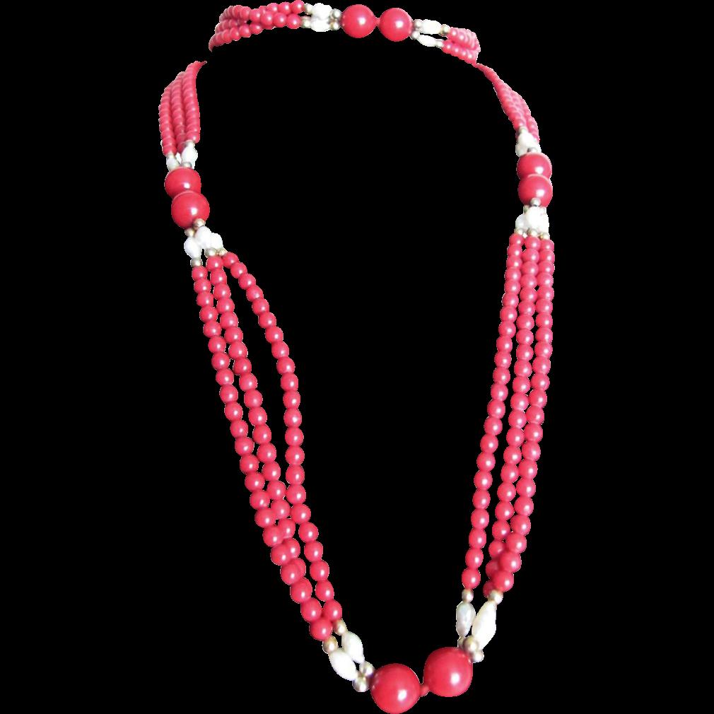 Vintage Enhanced Oxblood Quartz Festoon Flapper & Freshwater Cultured Pearl Necklace Certified Appraisal $520