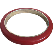 Vintage Red Bakelite with Brass Insert Bangle