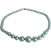 Vintage Graduated Pearlized Turquoise Frosted Mint Beads Necklace...Happy New Year!