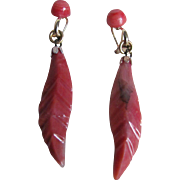 "Vintage 14k GF Semi Precious Travertine Carved Feather Drop Earrings ""As Is""  2 for 1 offer"