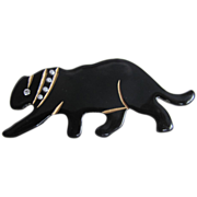 ART DECO Black Bakelite Panther Pin  studded collar Pin Brooch