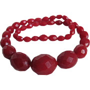 Art Deco Red Galalith Facetted Carved Bead Choker Necklace