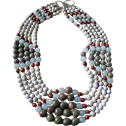 Vintage Quartz, Serpentine Chalcedony & Agate Bead 5 Strand Necklace with Certified Appraisal $2270