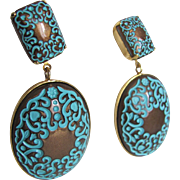 Vintage unsigned Kenneth Lane Turquoise Enamel & Bronze Design Clip Earrings