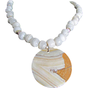 Vintage Carved Banded Agate Pendant  and Travertine Bead Necklace