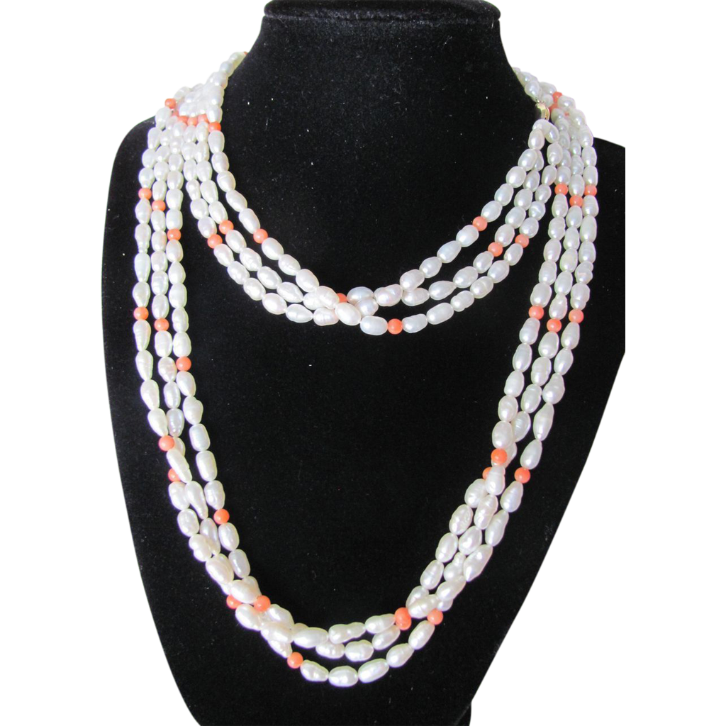Vintage 14k Gold 3 Strand Cultured Freshwater Pearls & Angel skin Coral Necklace with Certified Appraisal