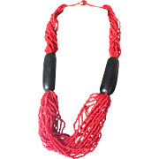 Vintage Tomato Red Enhanced Coral & Buffalo Horn Multi Strand Torsade with Certified Appraisal $850
