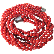 Vintage NOS Oxblood Red Coral Multi Strand Torsade with Appraisal $1600