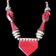 Art Deco Jakob Bengel Galalith Burgundy & Brass Necklace