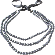 Vintage Triple Strand  Faux Grey Pearl with Silk Ribbon Necklace