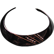 Vintage Choker in Black Plastic with Inlaid Rhinestone Cuff Necklace