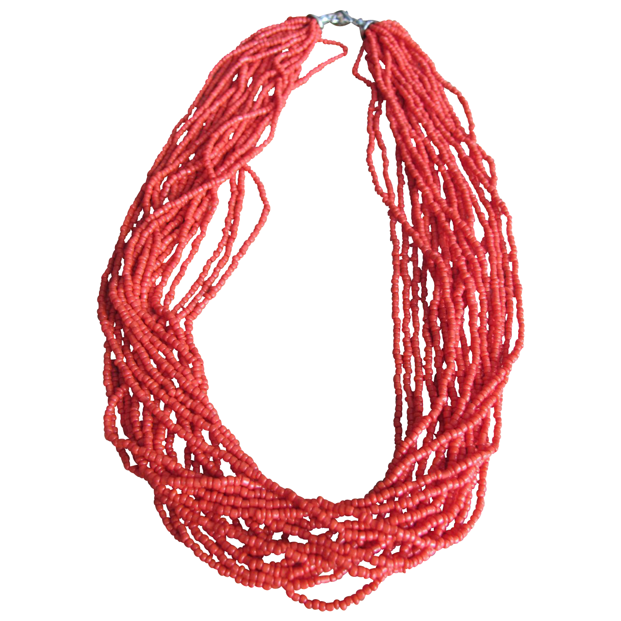 Vintage Italian/British Natural Sardinian Red Coral Torsade with Certified Appraisal $3000