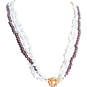 Vintage GP Rhodolite Garnet & Cultured Pearl Triple Strand Necklace with Certified Appraisal