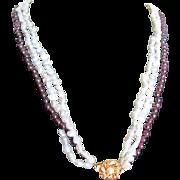 Vintage GP Rhodolite Garnet & Cultured Pearl Triple Strand Necklace with Certified Appraisal